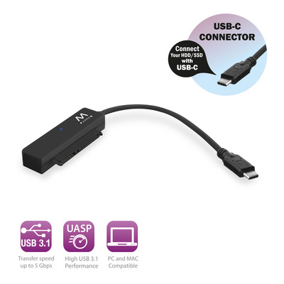 "Adapter USB-C 3.1 Gen1 to SATA, for 2.5"" SSD/HDD, black, Ewent EW7075"